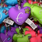 PUFFY HEART ZIP CLIP KEY CLIP WITH THE LETTER E PURPLE NEW GANZ