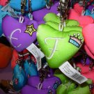 PUFFY HEART ZIP CLIP KEY CLIP WITH THE LETTER F LIME GREEN NEW GANZ
