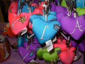PUFFY HEART ZIP CLIP KEY CLIP WITH THE LETTER L TURQUOISE NEW GANZ