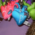 PUFFY HEART ZIP CLIP KEY CLIP WITH THE LETTER P TURQUOISE NEW GANZ