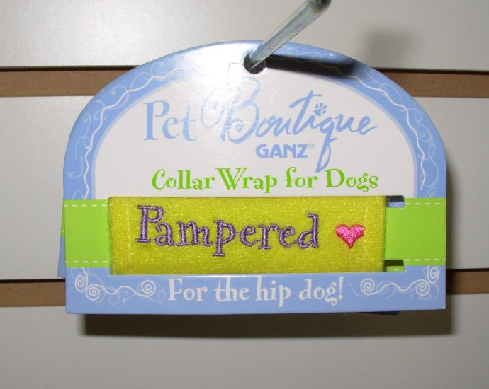 COLLAR WRAP SAYS PAMPERED BY PET BOUTIQUE FOR DOGS OR CATS NEW GANZ FURBABIES ACCESSORIES