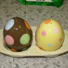 EASTER EGG SALT AND PEPPER SHAKERS NEW GUND CERAMIC
