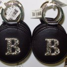 CHELSEA INITIAL B LEATHER KEY RING BLACK WITH SILVER PLATED LETTER INITIALS AND A MIRROR NEW GANZ