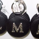 CHELSEA INITIAL M LEATHER KEY RING BLACK WITH SILVER PLATED LETTER INITIALS AND A MIRROR NEW GANZ