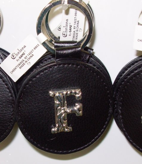CHELSEA INITIAL F LEATHER KEY RING BLACK WITH SILVER PLATED LETTER INITIALS AND A MIRROR NEW GANZ