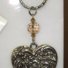 KEY RING LARGE HEART SILVER PLATED PEWTER CHELSEA KEY FOBS NEW GANZ HEAVY EASY TO FIND