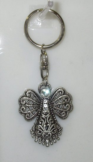 ANGEL KEY RING PEWTER WITH WHITE CRYSTAL SWIVEL ATTACHMENT NEW CBK