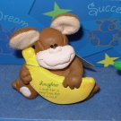 COMFY CRITTERS MONKEY FIGURINE GUND RETIRED SAYS LAUGHTER IS EXERCISE FOR THE SOUL..  NWT