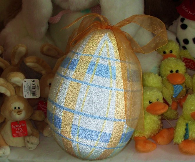 EASTER EGG HOME DECOR DECORATION LARGE SPARKLY WITH RIBBON HANGER NEW