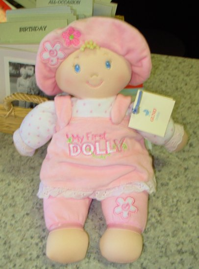 MY FIRST DOLLY BLONDE NEW GUND SOFT PLUSH 13 INCH DOLL  MACHINE WASHABLE