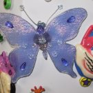 MAGNET LIGHT BLUE BUTTERFLY SEQUINS CRYSTALS AND BEADS ON NET NEW GANZ HOME DECOR KITCHEN DECOR