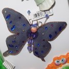 MAGNET DARK BLUE BUTTERFLY SEQUINS CRYSTALS AND BEADS ON NET NEW GANZ HOME DECOR KITCHEN DECOR