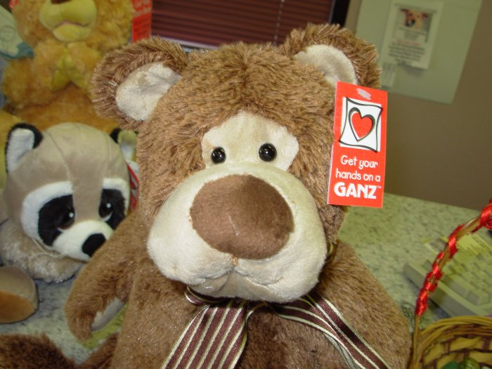 BOSWELL BROWN BEAR PLUSH STUFFED ANIMAL NEW GANZ TOY BEAR