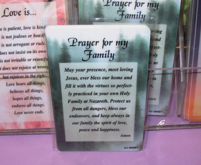 PRAYER FOR MY FAMILY INSPIRATIONAL POCKET CARDS NEW GANZ WONDERFUL GIFT ITEMS