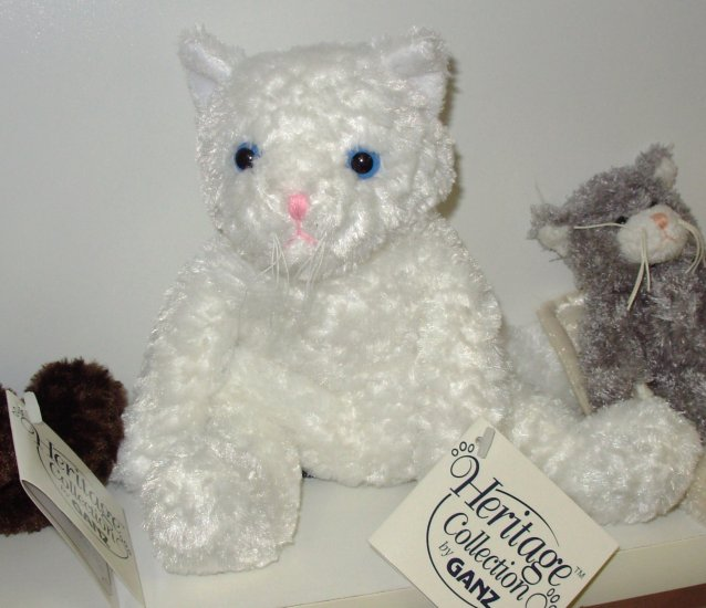 WHITE KITTY CAT PLUSH STUFFED ANIMAL HERITAGE COLLECTION RETIRED GANZ NEW WITH TAGS PUSHKIN
