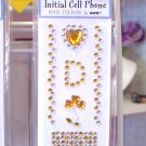 INITIAL CELL PHONE JEWEL STICKERS BY GANZ PEEL AND STICK NEW LETTER D GOLD AND CLEAR CRYSTALS