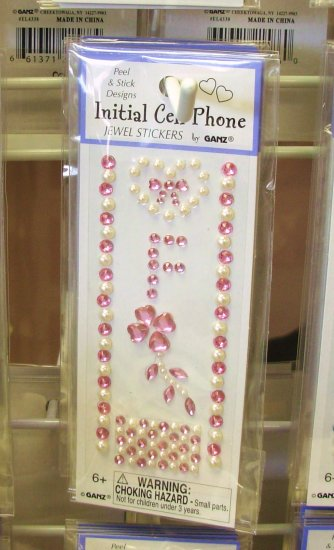 INITIAL CELL PHONE JEWEL STICKERS BY GANZ PEEL AND STICK NEW LETTER F PINK AND WHITE CRYSTALS