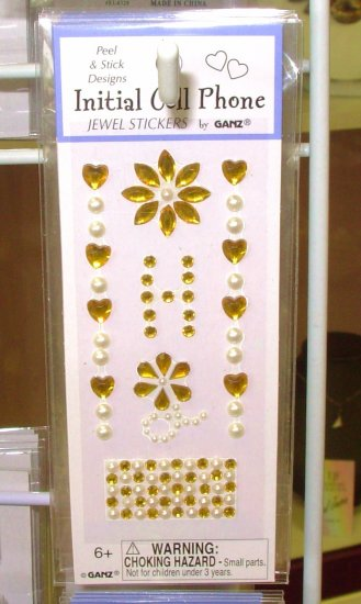 INITIAL CELL PHONE JEWEL STICKERS BY GANZ PEEL AND STICK NEW LETTER H GOLD AND WHITE  CRYSTALS