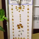 INITIAL CELL PHONE JEWEL STICKERS BY GANZ PEEL AND STICK NEW LETTER I GOLD AND WHITE CRYSTALS