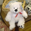 SMALL WHITE PLUSH STUFFED ANIMAL BEAR NAMED BENTLY NEW GANZ TEDDYBEAR