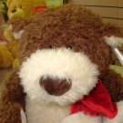 BRAM BROWN AND CREAM CHRISTMAS PLUSH STUFFED TEDDYBEAR NEW GANZ ANIMAL NEW WITH TAGS
