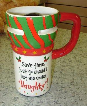 EXPRESS ITS TRAVEL MUG SAVE TIME JUST GO.. XMAS CERAMIC COFFEE MUG GANZ NEW HOLIDAY MUG