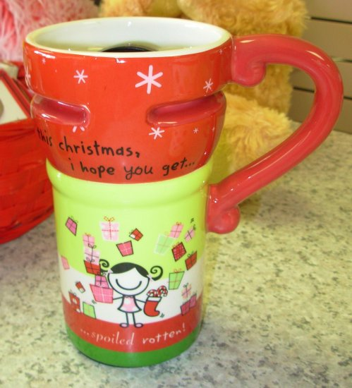 SMIRK TRAVEL MUG THIS CHRISTMAS I HOPE YOU GET..XMAS CERAMIC COFFEE MUG GANZ NEW HOLIDAY MUG