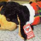 WINTER WEINER DOG DACHSHUND BLACK AND TAN PLUSH STUFFED ANIMAL NEW GANZ SMALL WITH ORIGINAL TAGS