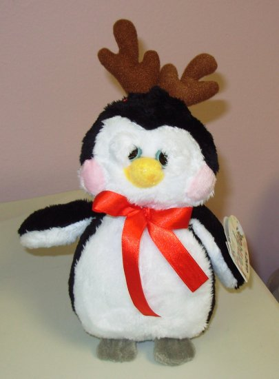 PENDEER PENQUIN WITH ANTLERS PLUSH STUFFED ANIMAL DOLL CHRISTMAS HOLIDAY TOY GANZ NEW WITH TAGS