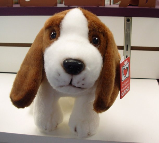 BASSET HOUND PUPPY PLUSH STUFFED ANIMAL NEW WITH TAGS GANZ AGES 3 AND UP TOY