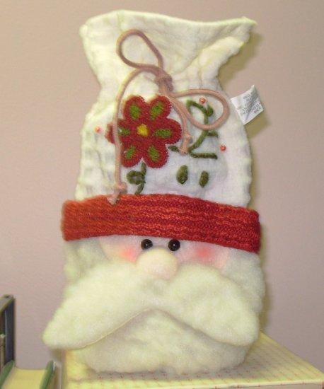 BOTTLE WRAP WINE BAG SANTA NEW CBK GREAT HOSTESS GIFT NEW CBK CHRISTMAS HOLIDAY GIFT