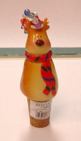 CHRISTMAS REINDEER WINE BOTTLE CORK REPLACEMENT CERAMIC AND CORK NEW GANZ HOLIDAY HOSTESS GIFT