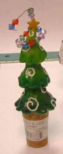 CHRISTMAS TREE WINE BOTTLE CORK REPLACEMENT CERAMIC AND CORK NEW GANZ HOLIDAY HOSTESS GIFT