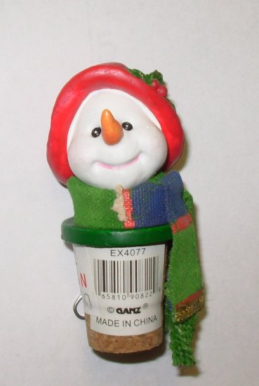 CHRISTMAS HOLIDAY WINE BOTTLE CORK REPLACEMENT SNOWMAN RESIN AND CORK NEW GANZ HOLIDAY HOSTESS GIFT