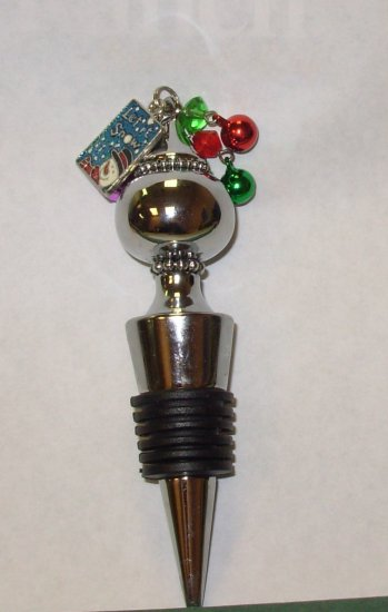 WINE BOTTLE CORK REPLACEMENT HEAVY METAL AND RUBBER NEW GANZ HOLIDAY HOSTESS GIFT CHRISTMAS