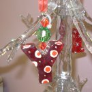 LETTER Y CHRISTMAS ORNAMENT ACRYLIC ON RED GAUZE RIBBON LOOKS LIKE CANDY NEW GANZ HOLIDAY DECOR