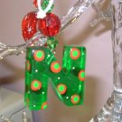 LETTER N CHRISTMAS ORNAMENT ACRYLIC ON RED GAUZE RIBBON LOOKS LIKE CANDY NEW GANZ HOLIDAY DECOR