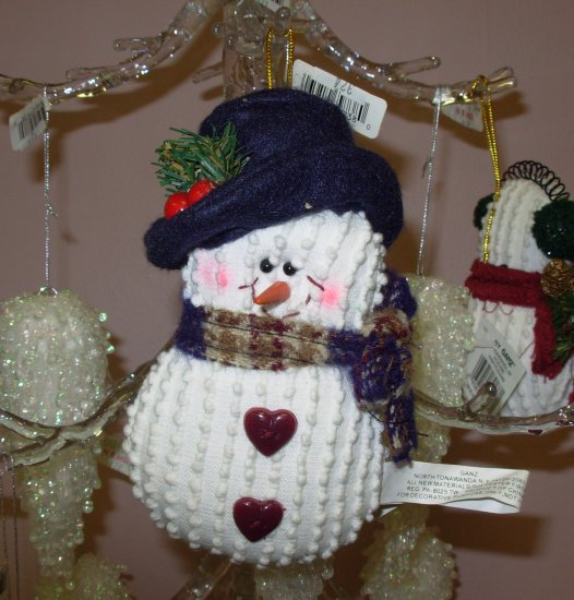 CHENILLE SNOWMAN CHRISTMAS ORNAMENT NEW GANZ HOLIDAY TREE HOME DECOR