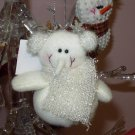 SNOWMAN IN EARMUFFS WHITE SPARKLY CHRISTMAS ORNAMENT BEANIE BOTTOM NEW GANZ HOLIDAY TREE HOME DECOR