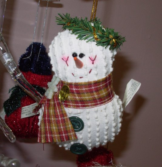 SNOWMAN CHENILLE CHRISTMAS ORNAMENT NEW GANZ HOLIDAY TREE HOME DECOR