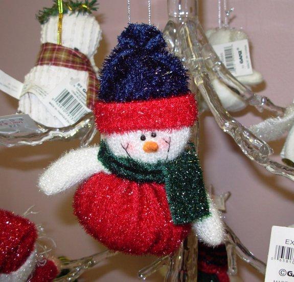 CHRISTMAS ORNAMENT SPARKLY SNOWMAN WITH A BEANIE BOTTOM NEW GANZ HOLIDAY TREE HOME DECOR