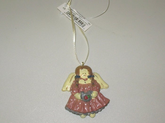 LITTLE PIGTAILED MINI RESIN ANGEL CHRISTMAS ORNAMENT NEW GANZ HOLIDAY TREE HOME DECOR