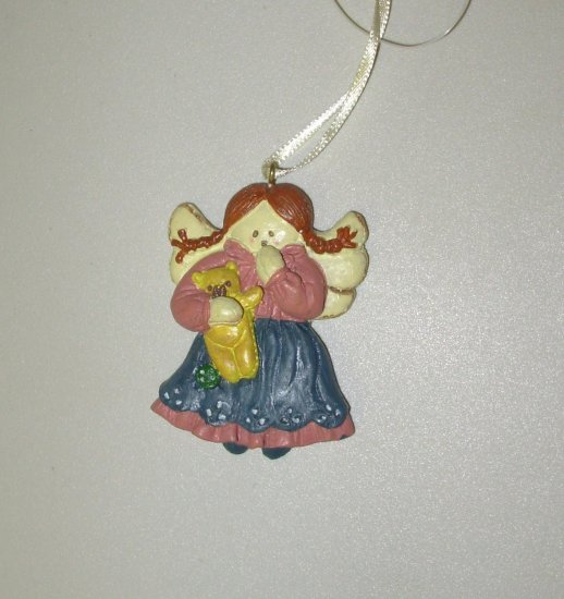 MINI RESIN ANGEL WITH TEDDYBEAR CHRISTMAS ORNAMENT NEW GANZ HOLIDAY TREE HOME DECOR