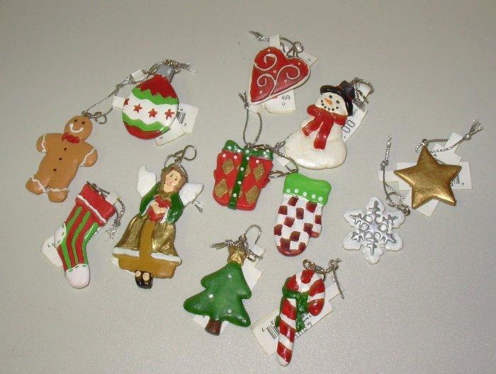 SET OF ONE DOZEN MINI CHRISTMAS ORNAMENTS NEW GANZ HOME HOLIDAY DECOR