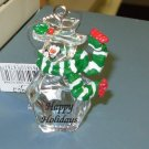 HAPPY HOLIDAYS SNOWMAN CHRISTMAS ORNAMENTS CLEAR ACRYLIC NEW GANZ HOME HOLIDAY DECOR