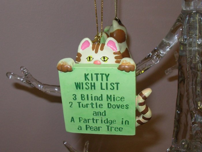 KITTY CAT WITH WISH LIST CHRISTMAS ORNAMENTS NEW GANZ HOME HOLIDAY DECOR