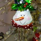 METAL AND BEAD SNOWMAN CHRISTMAS ORNAMENT NEW GANZ HOME HOLIDAY DECOR