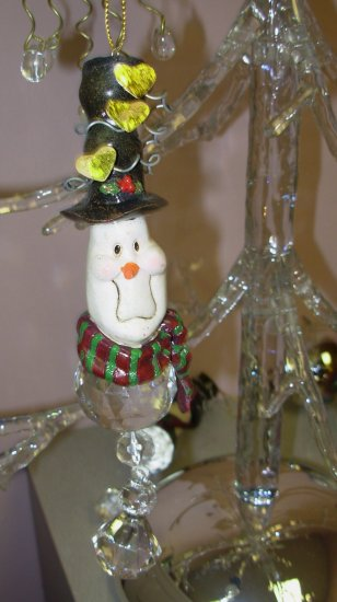 RESIN AND GLASS BEAD SNOWMAN CHRISTMAS ORNAMENT NEW GANZ HOME HOLIDAY DECOR