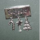 CHRISTMAS CHARM PIN SAYS REJOICE HOLIDAY JEWELRY NEW GANZ