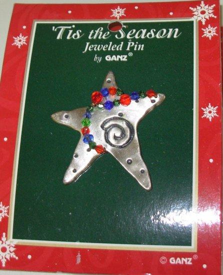 CHRISTMAS JEWELED PIN BEADED METAL STAR HOLIDAY JEWELRY NEW GANZ